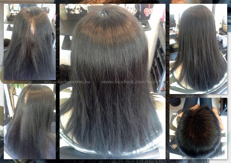 Fejtetődúsítás 40 cm-es európai hajból, bal választékkal.  www.hajbevarras.hu  www.fb.com/hajbevarras #fejtetősűrítés #fejtetődúsítás