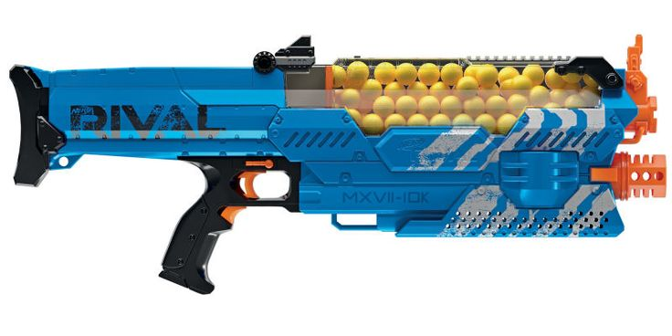 A few years ago Nerf decided the best way to lure teens away from paintball and back to its foam darts was with a new line of blasters capable of firing tiny foam balls at speeds of up to 70 miles per hour. The latest addition to that line is the formidable Nemesis MXVII-1oK which comes with a massive 100-shot hopper that keeps you blasting away for almost half a minute.