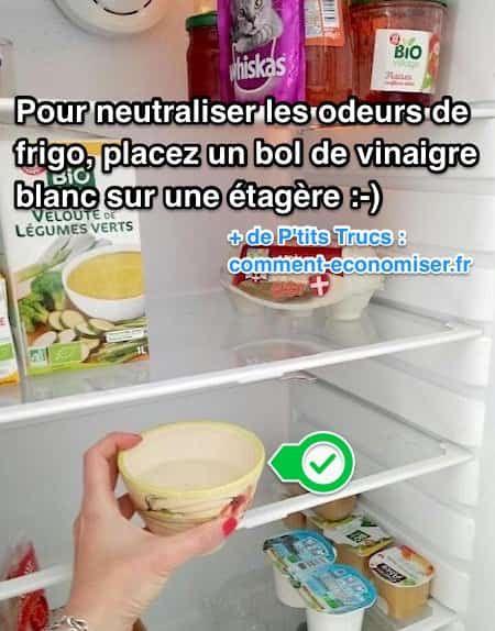 Vous cherchez un truc pour neutraliser les odeurs dans votre frigo ? Heureusement, il existe une astuce pour s'en débarrasser rapidement grâce à un produit que l'on a tous dans nos placards.  Découvrez l'astuce ici : http://www.comment-economiser.fr/astuce-neutraliser-mauvaises-odeurs-frigo-vinaigre-blanc.html?utm_content=buffer34c3c&utm_medium=social&utm_source=pinterest.com&utm_campaign=buffer