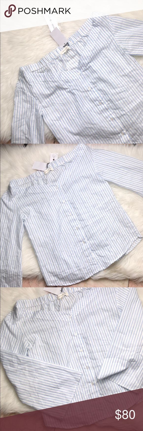 "TREASURE & BOND STRIPED WHITE BLUE BELL SLEEVE TOP Super cute and brand new!  Want to save more?  Bundle and save on shipping! Measurements:  Length: 22"" Underarms: 18.5"" Shoulder width: 16.5"" Arm width: 7.5"" Inseam:  Waist:  * smoke free home * Reasonable offers only please * All items are recorded in condition listed prior to shipping  * follow me on IG for exclusive sale offers @theposhpassport_ Treasure & Bond Tops Tees - Long Sleeve"