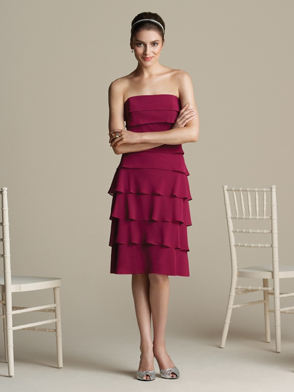 Krótka warstwowa sukienka z szyfonu. Suknie Noviamor. BB1025