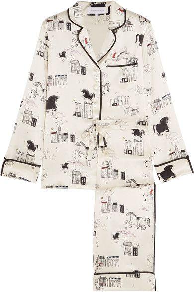 Olivia von Halle | Lila printed silk-satin pajama set | NET-A-PORTER.COM