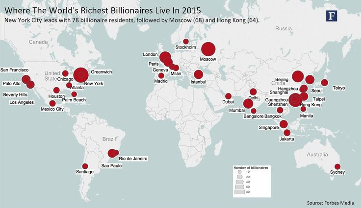 More than 1/3 of the 1,826 #ForbesBillionaires live in 20 major metropolises around the world. 부자들이 사는 동네.