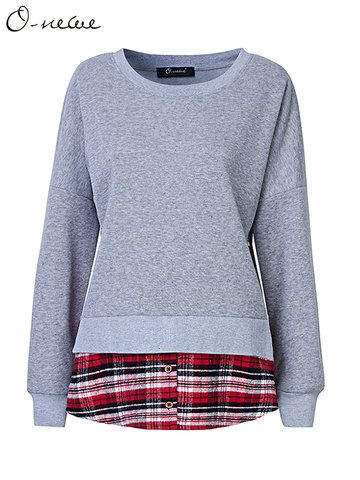 O-NEWE Autumn Women Casual Plaid Pure Color Patchwork O Neck Long Sleeve Blouse