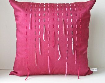Pink silk pillow cover 16 x 16, modern home decor, raspberry pink cushion cover, embroidered pillow cover