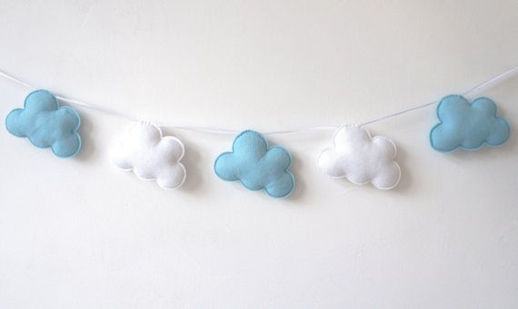Cloud Garland White and Blue Clouds Cloud Banner Cloud by LilyRazz