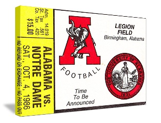 Alabama football art, Alabama football gifts. Alabama football canvas art made from an authentic 1986 Notre Dame vs. Alabama football ticket. Alabama won 28-10 to give the Crimson Tide their first win over Notre Dame. Who's going to win in 2013?
