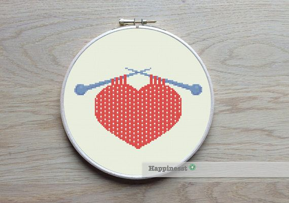 cross stitch pattern knitted heart,  modern cross stitch,  PDF ** instant download**
