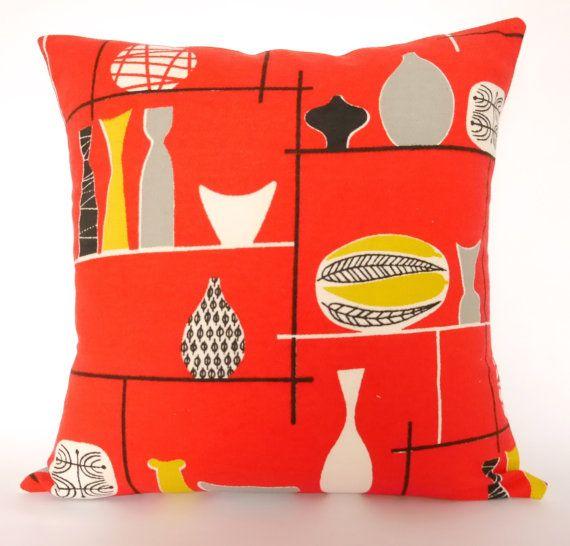 Rare Original 50s Marian Mahler Fabric Cushion Pillow - red atomic vases Lucienne Day era Mid Modern