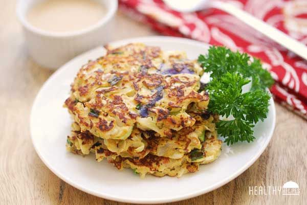 Cabbage Pancakes with Spicy Dipping Sauce