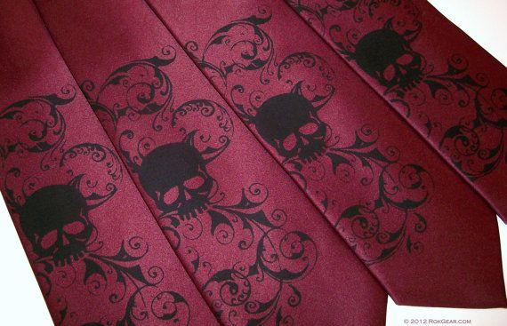 maroon and black skull necktie mens wedding ties by by RokGear, $20.00