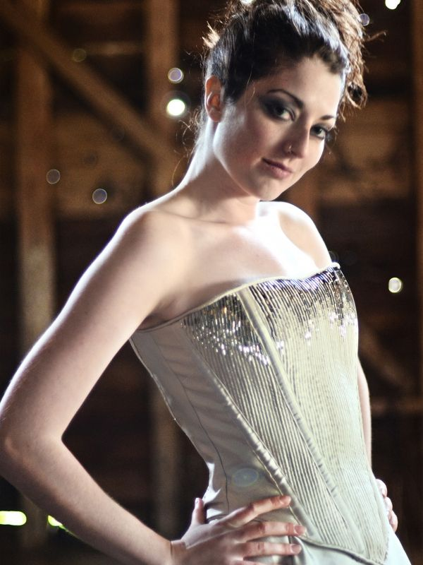 Beaded silk oyster bodice & skirt www.annebarclay.com