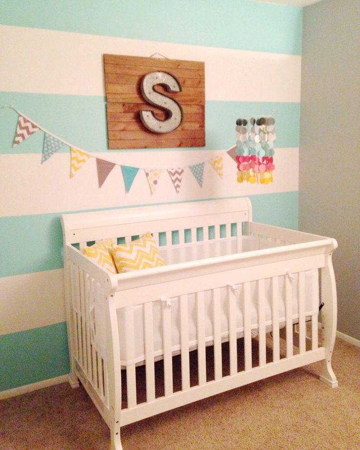 Gender Neutral Nursery - Grey teal yellow and coral  Dutch boy paint Wrenched Grey & Teal Seaglass