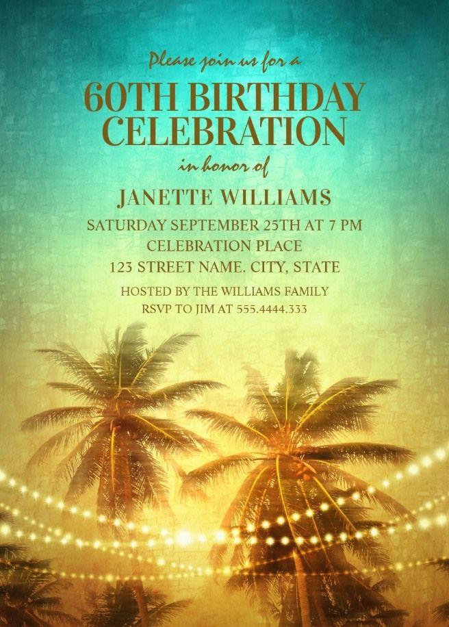 Tropical Palm Tree Hawaiian Themed 60th Birthday Invitations