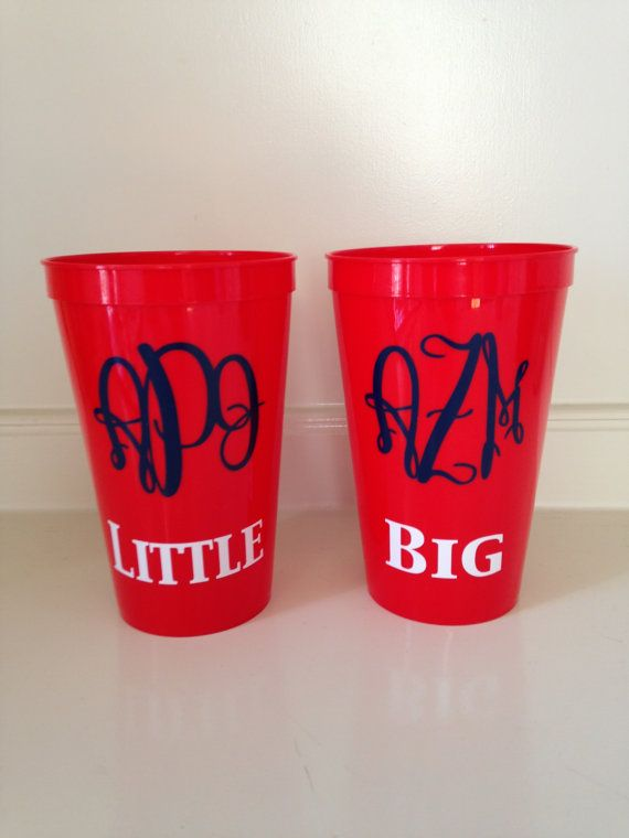 Sorority Big and Little Cups Set of 2 by CutitOutVinyl on Etsy, $8.00