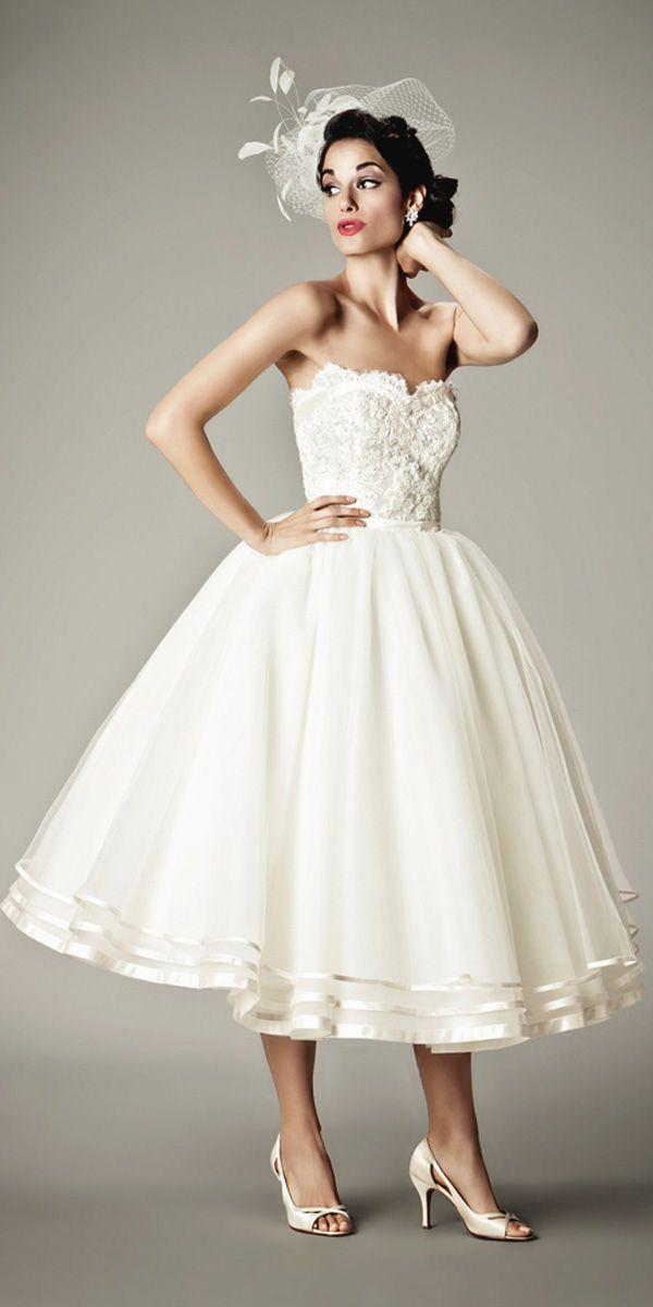 18 Gorgeous Tea Length Wedding Dresses ❤ See more: http://www.weddingforward.com/tea-length-wedding-dresses/ #weddings #dress