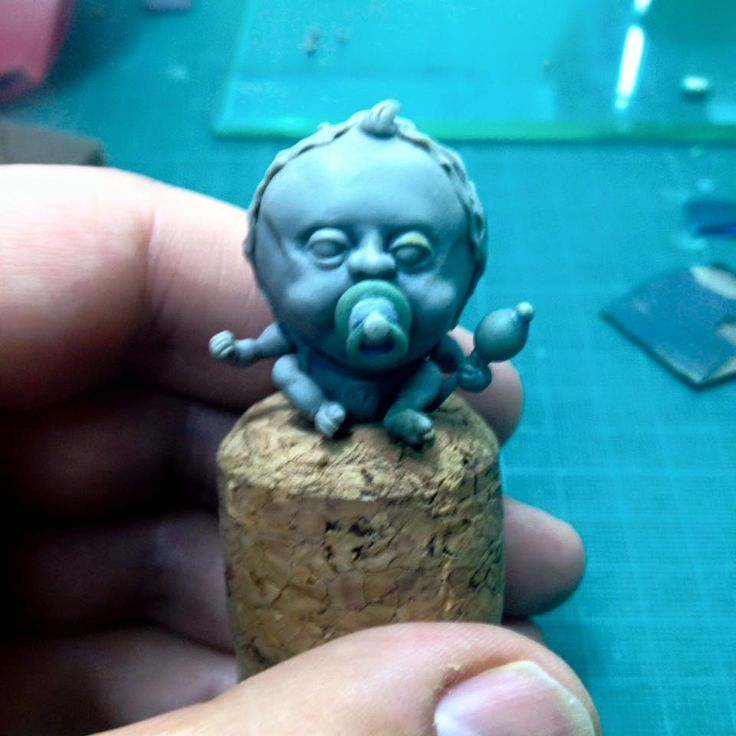 """My latest miniature sculpture """"Ah Goo the baby cabbage"""". WIP"""