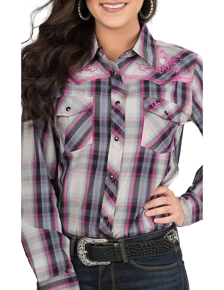 Cowgirl Hardware Women's Pink, Purple, Black, and Grey with Pink Embroidery Long Sleeve Western Shirt | Cavender's