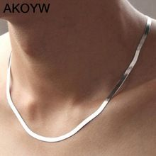high quality silver plated necklace Men Ms Short paragraph clavicle Blade chain fashion Nightclubs accessories Flat chain 45CM(China (Mainland))
