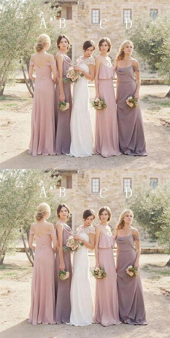 Elegant Blush Pink Four Styles Sleeveless Empire Waist Chiffon Bridesmaid Dresses Evening Dresses