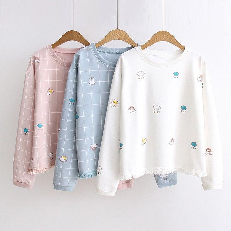 White/Pink/Blue Kawaii Pastel Weather Sweater SP179023