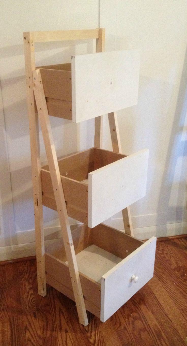 DIY Ladder Shelf Organizer made from drawers