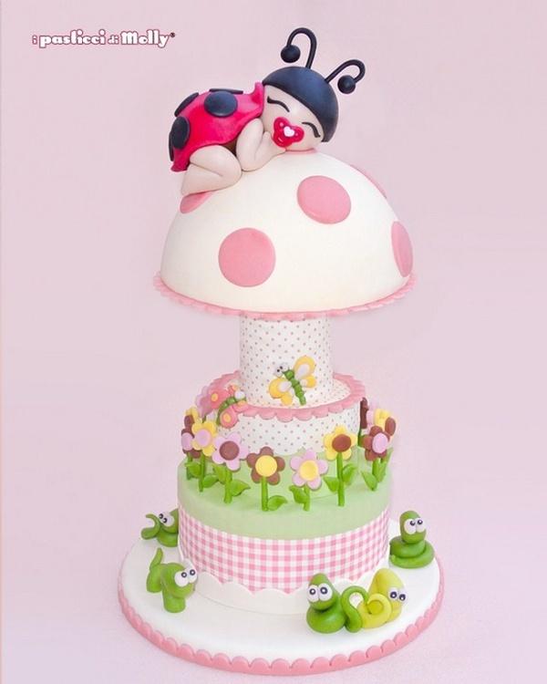 Bugs, flowers, mushroom baby #cake