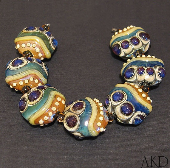 glass lampwork bead set handmade sra purple u0026 teal by akdlampwork