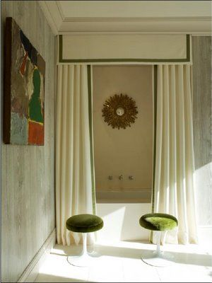 Beautiful idea and use of creativity for the shower curtain. Stunning! Source: Little Green Notebook: Lofty Living Room