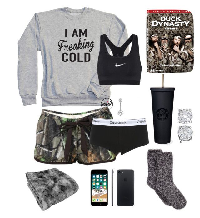 """""""Snow day=duck dynasty marathon"""" by mud-lovin-redneck ❤ liked on Polyvore featuring Realtree, NIKE, Calvin Klein Underwear and Gioelli"""