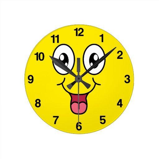 Happy Cartoon Smiley Face Clock   Zazzle