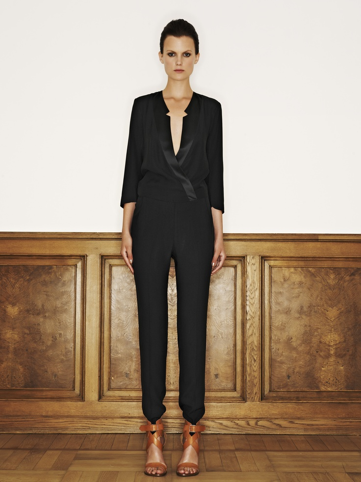 Rützou acetate rayon jumpsuit with pockets in black