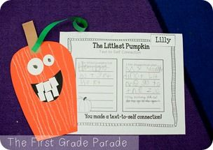 First Grade Parade - text to self connections with The Littlest Pumpkin