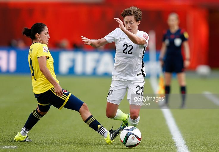 Meghan Klingenberg #22 of the United States controls the ball against Diana Ospina #4 of Colombia in the second half in the FIFA Women's World Cup 2015 Round of 16 match at Commonwealth Stadium on June 22, 2015 in Edmonton, Canada.