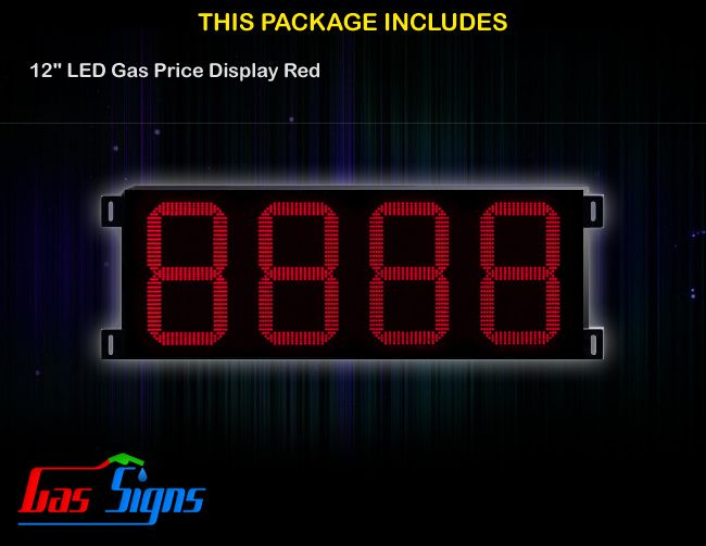 12 Inch 8888 LED Gas Price Display Red with housing dimension H400mm x W944mm x D55mmand format 8888 comes with complete set of Control Box, Power Cable, Signal Cable & 2 RF Remote Controls (Free remote controls).