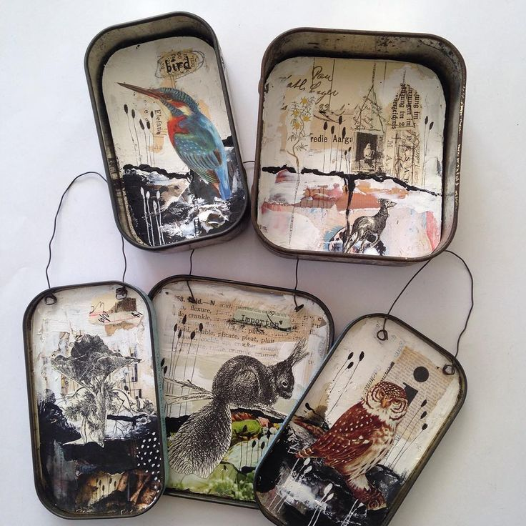 5 tins made - 2 to stand, 3 to hang #collageart #vintagetins #etsy