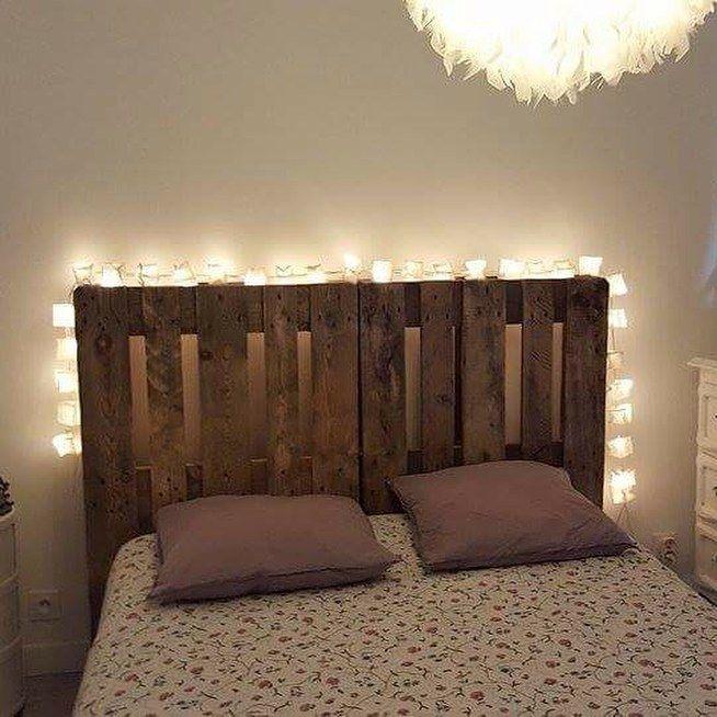 tete de lit en palettes guirlande lumineuse ts ts id e d co pinterest room closet. Black Bedroom Furniture Sets. Home Design Ideas
