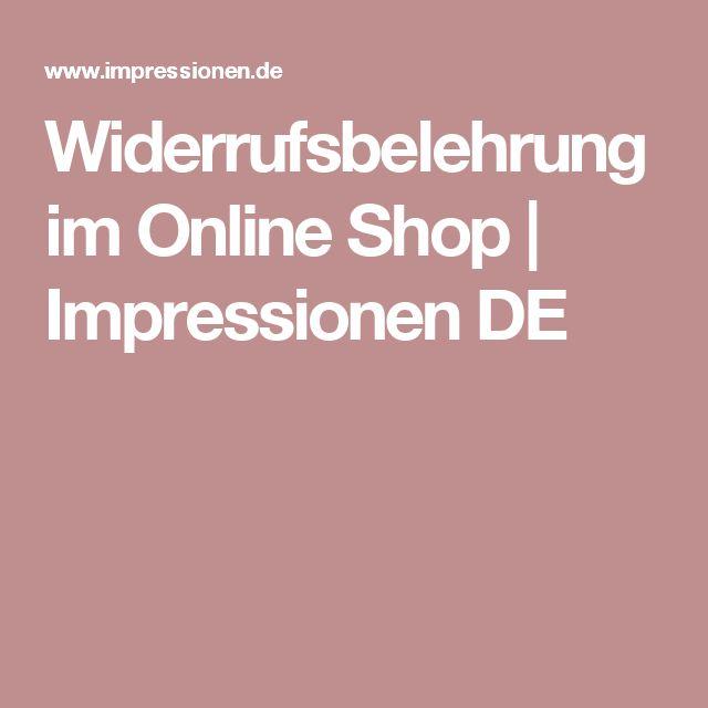 Widerrufsbelehrung im Online Shop | Impressionen DE