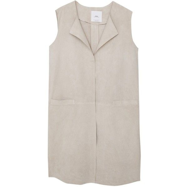 Mango Leather Gilet, Light Grey (7.825 RUB) ❤ liked on Polyvore featuring outerwear, vests, sleeveless waistcoat, light gray vest, sleeveless leather vest, leather waistcoat and sleeveless vest