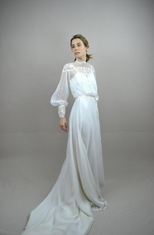 70s wedding dress / 1970s wedding dress / Celine