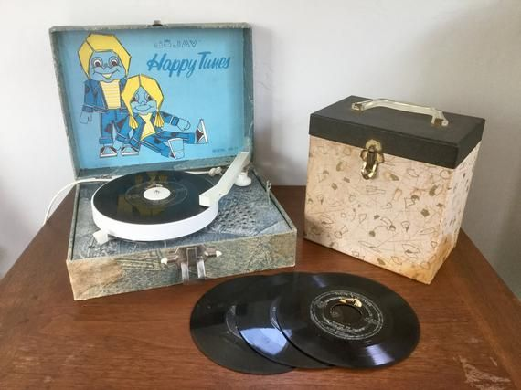 Vintage Childrens Record Player 45 Record Player Dejay Happy Tunes Portable 45 Player De Jay Record Player Kids Children S Record Vintage Toys Old Records