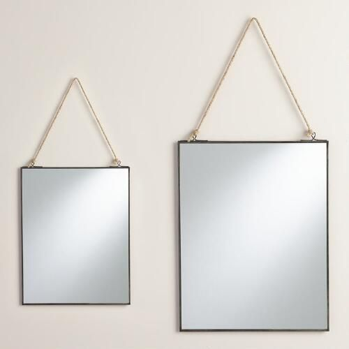 Antique Zinc Rectangular Metal Reese Mirror (set of mirrors for getting ready)