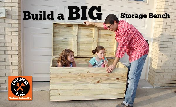 Build a BIG Outdoor Storage Bench for Seat Cushions, Toys, Tools and MORE!!
