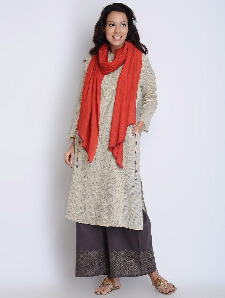 Buy Cream-Charcoal Pintuck Detailed Cotton Kurta Online at Jaypore.com