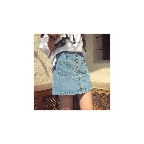 Buttoned A-line Denim Skirt ($17) ❤ liked on Polyvore featuring skirts, women, a line denim skirt, button-front denim skirts, a-line skirts, button skirt and knee length denim skirt