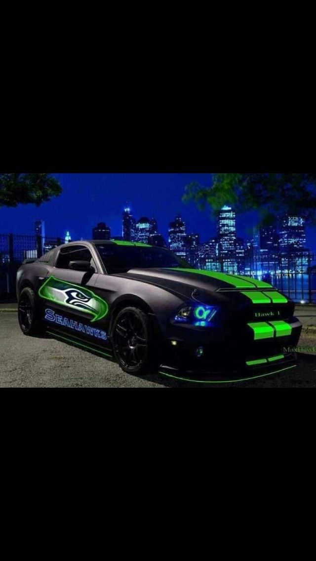 Mustang in Seahawks design
