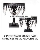 Black cake stand. Crystal cake stand. Glass cake stand. Vintage cake stand. Wedding cake stand. set of 2 round cake stands Free Worldwide Shipping