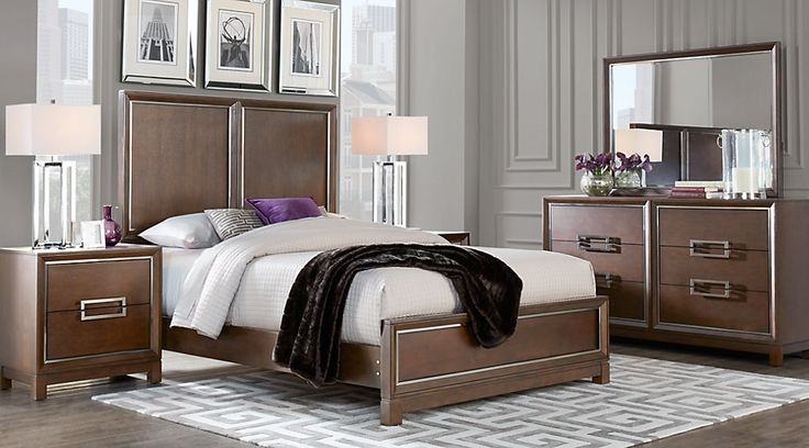 Cindy Crawford Home Newbury Park Merlot 5 Pc Queen Panel Bedroom from  Furniture