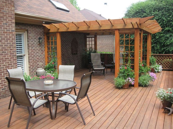 Outdoor Deck Design With Marvelous Round Breakfast Table With Iron Outdoor  Chairs On Wooden Flooring As Deck Furniture Ideas With Wooden Pergola Cover  For ...