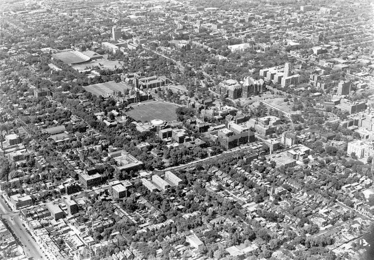 """Aerial view north to """"uptown"""" Toronto, 1947. University of Toronto, Queen's Park, Varsity Stadium are visible. - Courtesy of Canada Science and Technology Museums Corporation. ID# X-24133."""